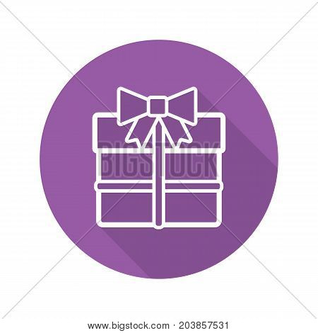 Gift box flat linear long shadow icon. Present box with bow and ribbon. Vector outline symbol