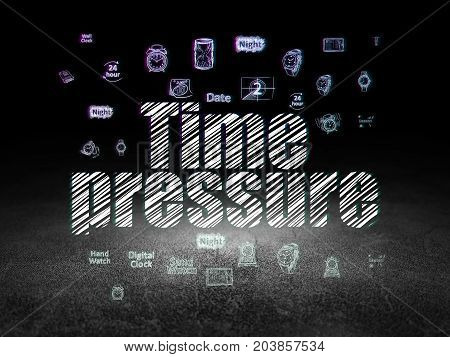 Timeline concept: Glowing text Time Pressure,  Hand Drawing Time Icons in grunge dark room with Dirty Floor, black background