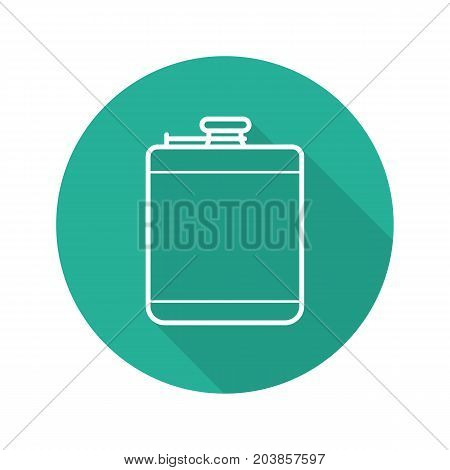 Hip flask flat linear long shadow icon. Alcohol flask. Vector outline symbol