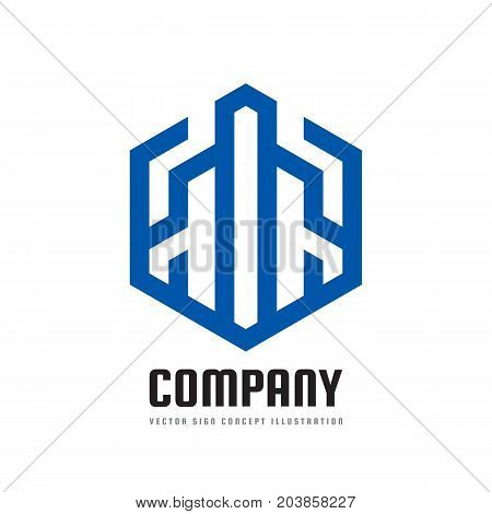 Abstract building construction - vector logo template concept illustration in line art style. Stripes in hexagon shape. Real estate icon. Design element.