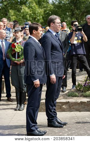 The Serbian president Aleksandar Vucic and the Hungarian president Janos Ader are standing together in Senta town in Serbia at September 11 2017.