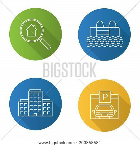 Real estate flat linear long shadow icons set. Multi-storey building, swimming pool, parking place, real estate search. Vector outline illustration