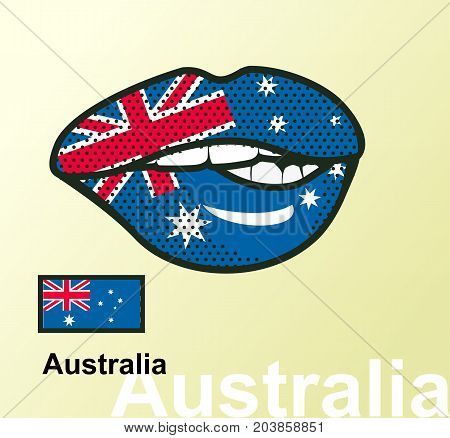 Vector illustration of lip painted Australia flag isolated foreign language national symbols