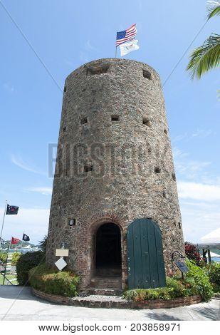 Blackbeard's Castle is a historic watchtower built in 1679 in Charlotte Amalie town on St. Thomas island (U.S. Virgin Islands).
