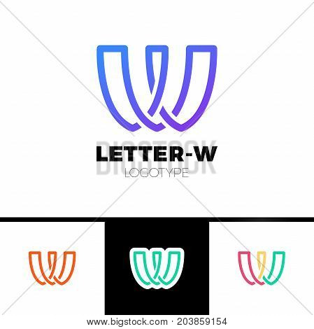 Creative Modern Unique Minimal Connected Artistic Blue Color W Wv Vw V Initial Based Letter Icon Log
