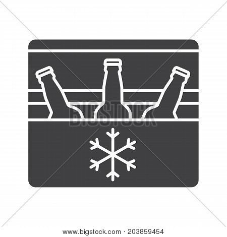 Portable refrigerator glyph icon. Silhouette symbol. Portable fridge with beer bottles. Negative space. Vector isolated illustration
