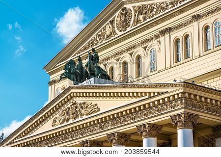 The famous Bolshoi Theatre in central Moscow, Russia. The Bolshoi Theater is one of the symbols of Russian culture.