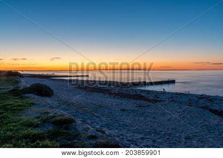 Groynes on Rosebud Beach in Rosebud on the Mornington Peninsula south of Melbourne, Australia
