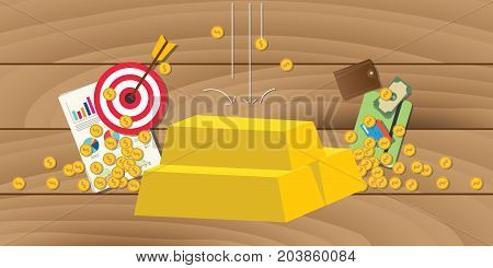 gold invest investment with gold bar stack with business symbol as background vector