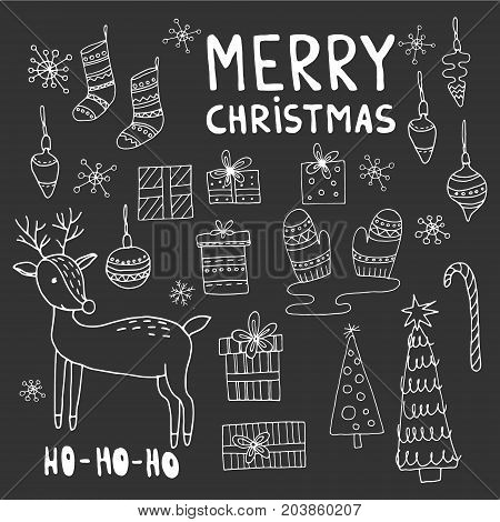 Set of christmas objects isolated on white background