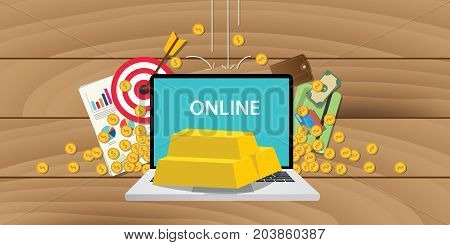 online gold investment with gold bar and laptop and business illustration vector