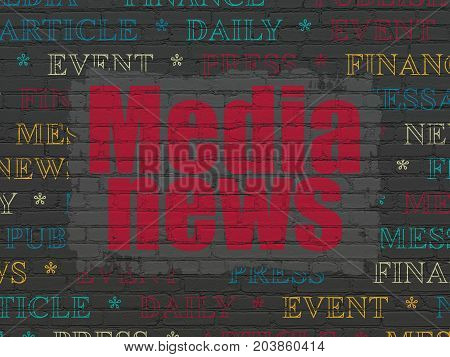 News concept: Painted red text Media News on Black Brick wall background with  Tag Cloud