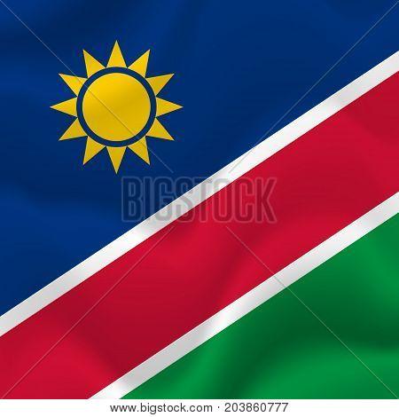 Namibia waving flag. Waving flag. Vector illustration.