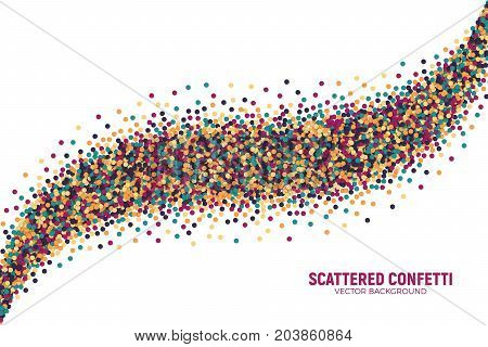 Vector Scattered Colorful Motley Confetti 3D Illustration in Abstract Trail Shape Isolated on White Background. Varicolored Slapstick Paper Round Particles. Graphic Design Template