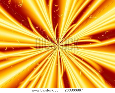 Yellow red modern abstract fractal art. Simple background illustration with energy light explosion. Creative graphic template free style. For designs layouts projects banners skins advertising