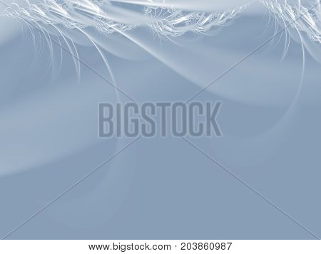 Elegant grey modern abstract fractal art. Modest background illustration with silver decorative feather like structures. Creative graphic template. Simple fancy style. For designs layouts leaflets