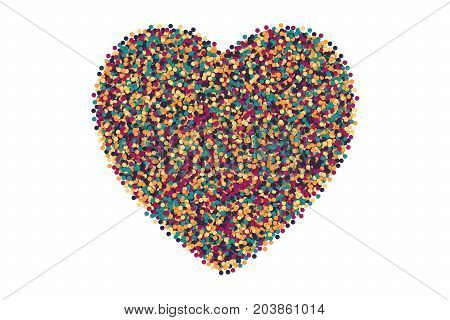 Vector Scattered Colorful Motley Confetti 3D Illustration in Abstract Heart Shape Isolated on White Background. Varicolored Slapstick Paper Round Particles. Graphic Design Template