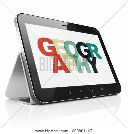 Education concept: Tablet Computer with Painted multicolor text Geography on display, 3D rendering