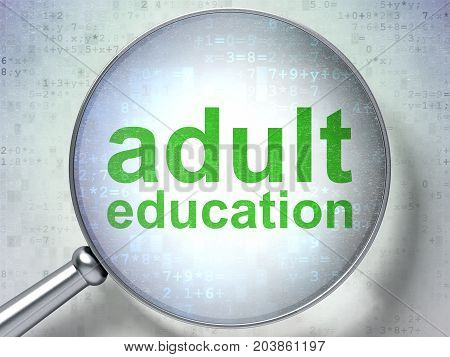 Education concept: magnifying optical glass with words Adult Education on digital background, 3D rendering