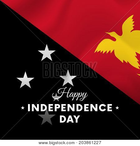 Banner or poster of Papua New Guinea independence day celebration. Waving flag. Vector illustration.