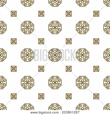 Japan kimono inspired vector seamless pattern in gold line color style. Japanese classic design.