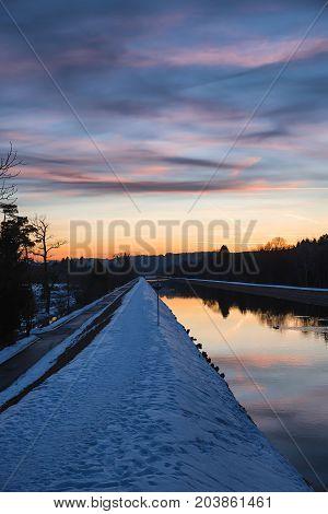 Isar Riverside Walkway In Winter