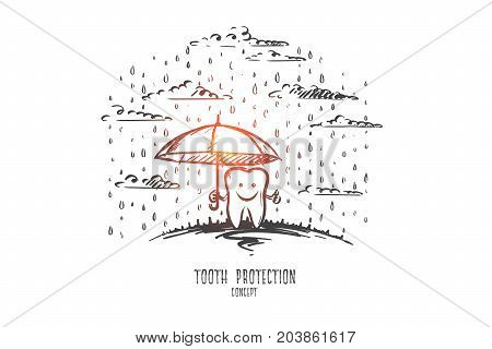 Tooth protection concept. Hand drawn happy tooth under umbrella. Teeth crying isolated vector illustration.