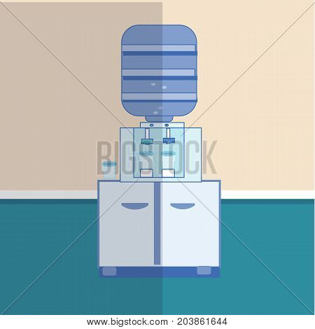 Gray white plastic water cooler with blue full bottle. vector illustration in flat design in interior background, with shadow. icon
