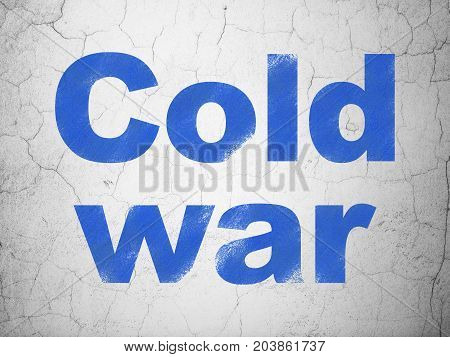 Political concept: Blue Cold War on textured concrete wall background