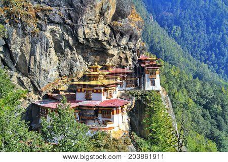 Taktshang Goemba or Tiger's nest monastery Paro Bhutan.