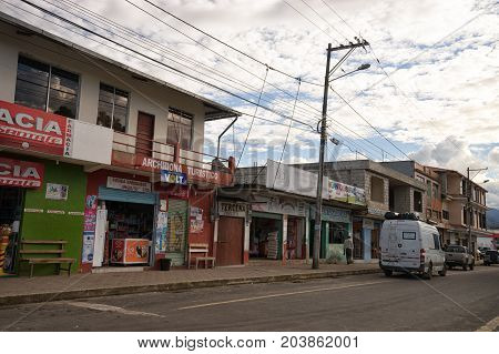 June 1 2017 Archidona Ecuador: commercial buildings in the centre of the small town in the Amazon area which was an important center for missionaries in the colonial times