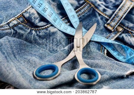 Tailors Tools On Denim Textile, Selective Focus
