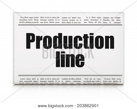Manufacuring concept: newspaper headline Production Line on White background, 3D rendering
