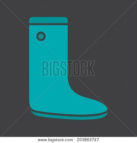 Gumboot glyph color icon. Rubber boot. Silhouette symbol on black background. Negative space. Vector illustration