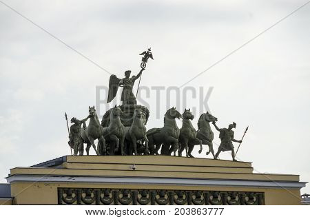 Chariot of Glory on the arch of the General Staff Building in Saint Petersburg, Russia