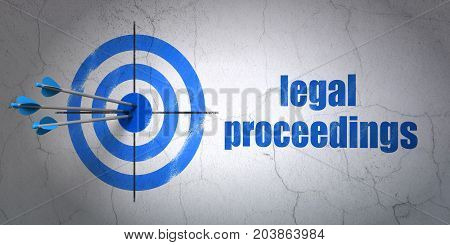 Success law concept: arrows hitting the center of target, Blue Legal Proceedings on wall background, 3D rendering