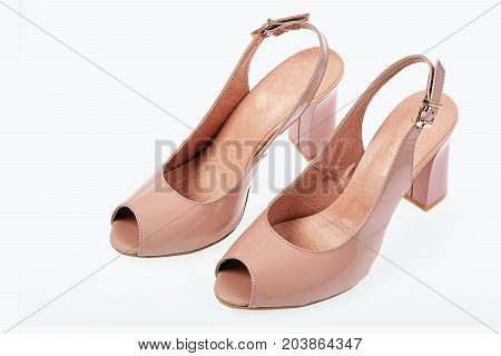 Womens Patent Leather High Heel Shoes, Top View.