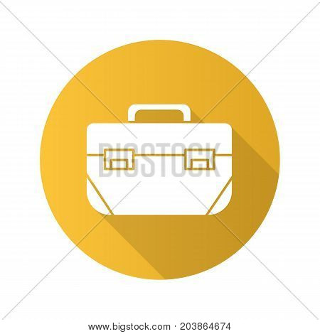 Tool box flat design long shadow glyph icon. Construction toolkit. Industrial steel container. Vector silhouette illustration