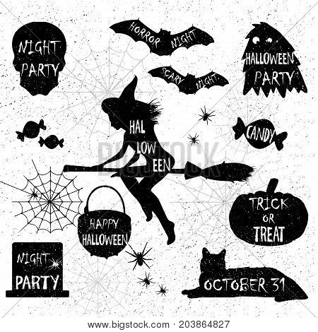 Halloween Silhouettes. Witch, Pumpkin, Black Cat.halloween Party. Spider Sticker. Trick Or Treat.