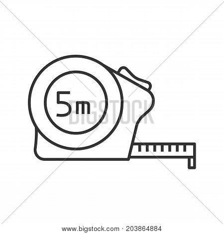 Measuring tape linear icon. Thin line illustration. Contour symbol. Vector isolated outline drawing