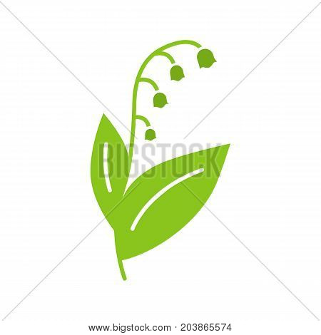 May lily glyph color icon. Lily of the valley. Silhouette symbol on black background. Negative space. Vector illustration