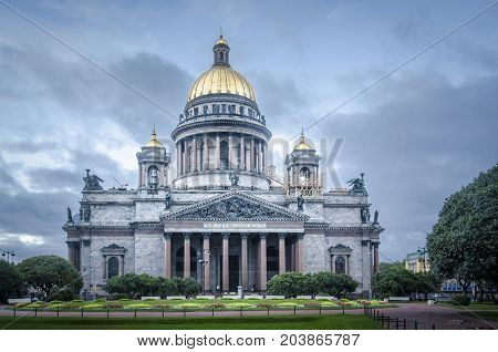 Saint Isaac's Cathedral and gardens Saint Petersburg Russia