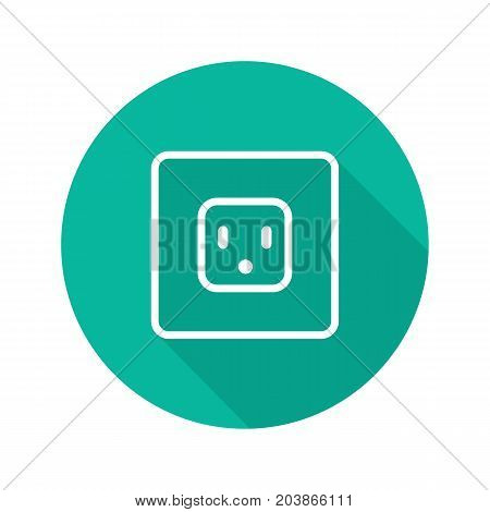 Electric power socket flat linear long shadow icon. Vector outline symbol