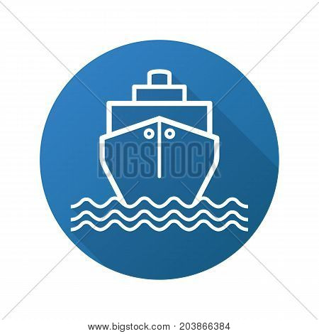 Cruise ship flat linear long shadow icon. Shipping tanker. Coast guard ship. Vector outline symbol