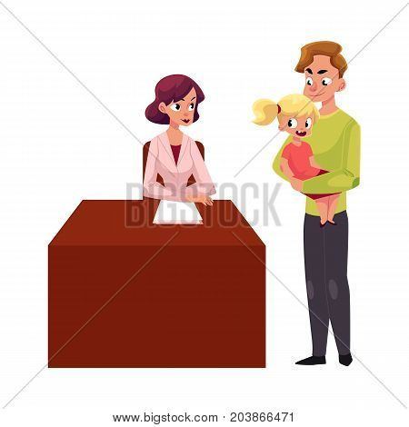 Father with little girl visit woman doctor pediatrician who sits at desk, cartoon vector illustration isolated on white background. Woman doctor, pediatrician seeing little girl patient held by father