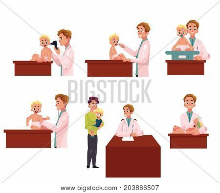 Man pediatrician, doctor doing medical exam, checkup for baby, infant, cartoon vector illustration isolated on white background. Set of babies, infants undergoing medical exam checkup by pediatrician