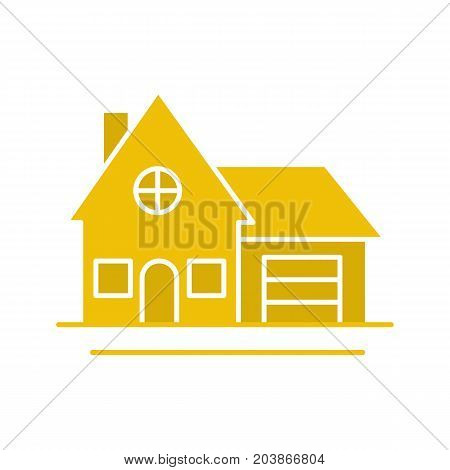 Cottage glyph color icon. Family house. Residence. Silhouette symbol on white background. Negative space. Vector illustration