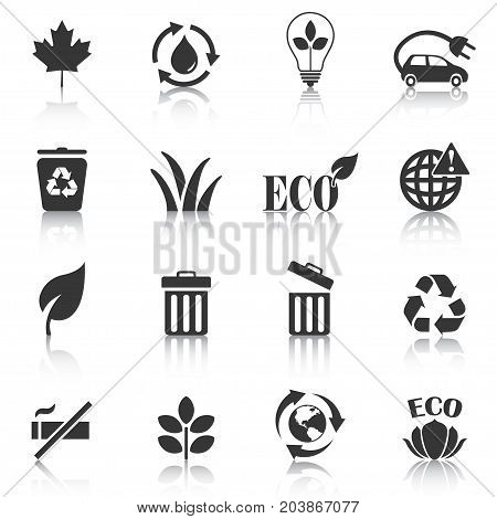 Set of eco icons recycle trash bin . Vector illustration