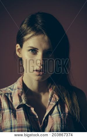 Girl With No Makeup On Face And Long Brunette Hair