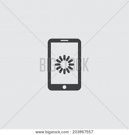 Smartphone with loading icon in a flat design in black color. Vector illustration eps10